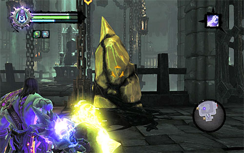 Once you're at the new shelf, look around for a shadowbomb and throw it at the yellow formation close-by - Find the first Soul - Judicator - Darksiders II - Game Guide and Walkthrough
