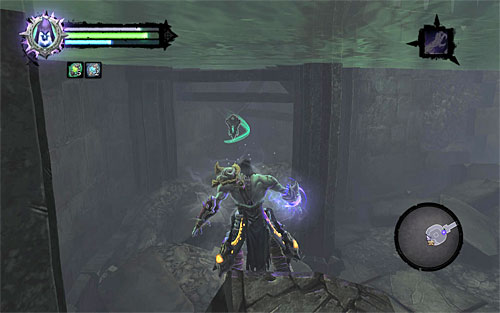 Head north, reaching an oval tower room with a demolished staircase - Find the first Soul - Judicator - Darksiders II - Game Guide and Walkthrough
