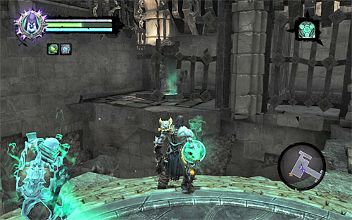 Pick up the items dropped by all the monsters (including the boss); also look around for a new chest, Boatman Coin and Soul Arbiter's Scroll (you need only to approach the signs painted on the wall) - Find the second Soul (2) - Judicator - Darksiders II - Game Guide and Walkthrough