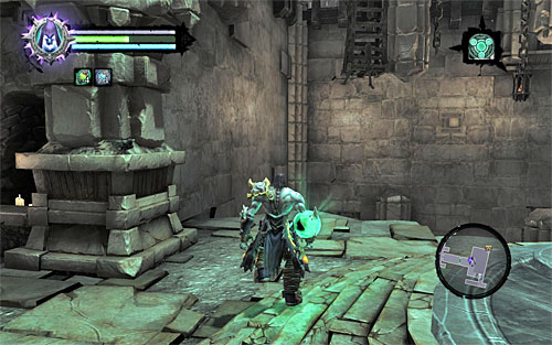 Set Death Grip as the active ability and approach the left wall (the above screen) - Find the second Soul (2) - Judicator - Darksiders II - Game Guide and Walkthrough