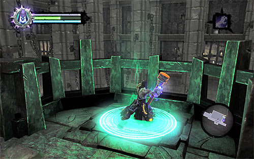 Wait for Death to get to the upper balcony and continue forth - Find the second Soul (2) - Judicator - Darksiders II - Game Guide and Walkthrough