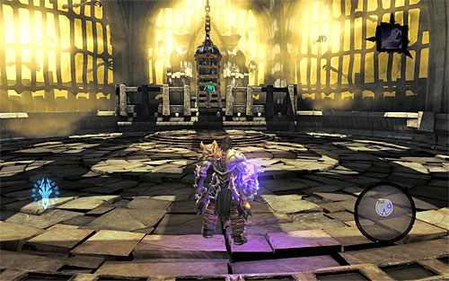 The last acrobatic performance required of you comes after Death grabs onto the top interactive edge - you need to lean back and jump towards the central platform - Find the second Soul (2) - Judicator - Darksiders II - Game Guide and Walkthrough