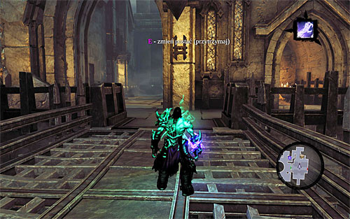 Switch now to the other half of the soul, but remember to us to hold the E key down at all times, because its important to keep the bridge in that position, at all times - Explore the City of the Dead - eastern part - The City of the Dead - Darksiders II - Game Guide and Walkthrough