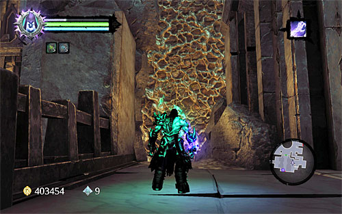 Continue controlling the other heart for the soul as you return towards the rotated bridge - Explore the City of the Dead - eastern part - The City of the Dead - Darksiders II - Game Guide and Walkthrough