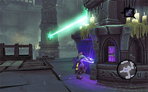For starters, turn the statue so that the lantern sheds its light on the crystal over the southern gate - Explore the City of the Dead - return to the western part - The City of the Dead - Darksiders II - Game Guide and Walkthrough