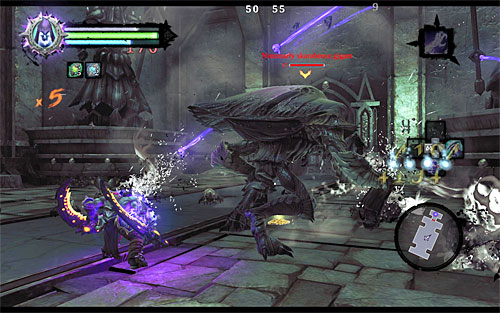 In the new location there is a fight with the undead giant scarab, accompanied by smaller scarabs waiting for you - Explore the City of the Dead - upper levels (2) - The City of the Dead - Darksiders II - Game Guide and Walkthrough