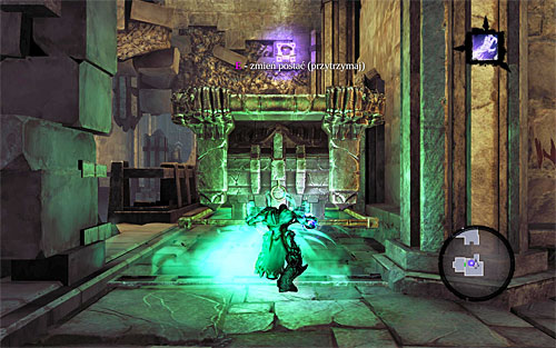 Jump down to a lower balcony once again, position yourself on the pressure plate that lowers a grate - Explore the City of the Dead - upper levels (2) - The City of the Dead - Darksiders II - Game Guide and Walkthrough