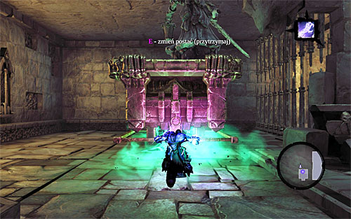 Return with the first half of the soul downstairs and position yourself on the very same plate that your physical form a leader was on - Explore the City of the Dead - upper levels (2) - The City of the Dead - Darksiders II - Game Guide and Walkthrough