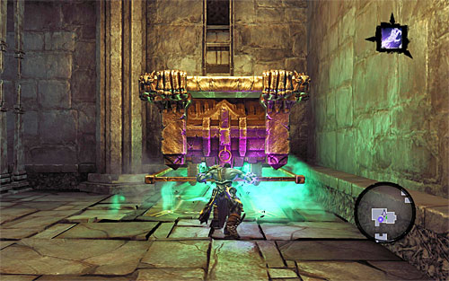 Jump down from the platform and move it to the single pressure plate - Explore the City of the Dead - upper levels (2) - The City of the Dead - Darksiders II - Game Guide and Walkthrough