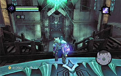 Make sure that the green beam is directed towards the northern door (the above screenshot), and go there - Explore the City of the Dead - end - The City of the Dead - Darksiders II - Game Guide and Walkthrough