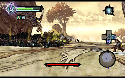 In the other attack, the Archon shoots out a black grease towards you, but this is something you shouldn't have any problems dodging - Boss 18 - Archon - Stains of Heresy - Darksiders II - Game Guide and Walkthrough