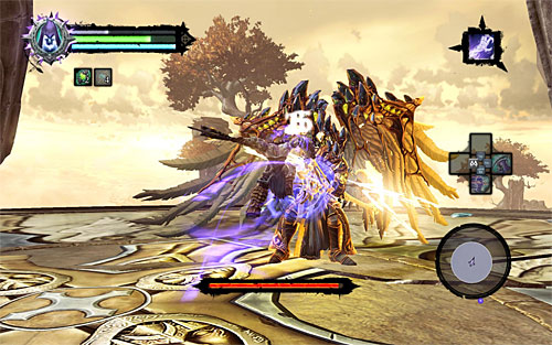 While fighting the Archon, I suggest applying the well-tried method of pulling yourself to him after each of his (and missed) attack - Boss 18 - Archon - Stains of Heresy - Darksiders II - Game Guide and Walkthrough