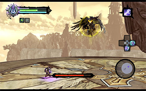 Keep hitting the Archon until he loses enough health points to prompt him to start flying over the arena (the above screen), rendering himself invulnerable to your standard attacks - Boss 18 - Archon - Stains of Heresy - Darksiders II - Game Guide and Walkthrough