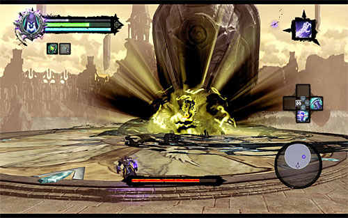 This is another stage of the battle in which you need to keep an eye on two different types of the Archon's moves, which are: a pound on the ground (screenshot 1) and throwing boulders (screenshot 2) - Boss 18 - Archon - Stains of Heresy - Darksiders II - Game Guide and Walkthrough
