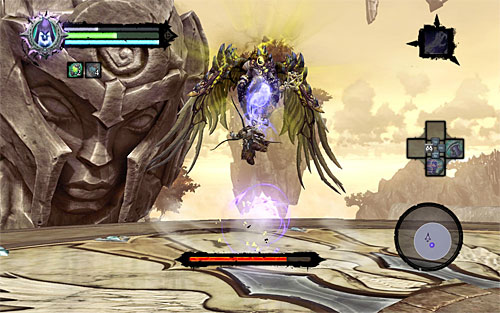 As I mentioned before, the Archon is invulnerable to standard melee attacks while he's in the air - Boss 18 - Archon - Stains of Heresy - Darksiders II - Game Guide and Walkthrough