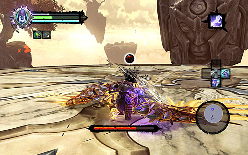 Repeat the process (pulling yourself to the flying Archon when the opportunity strikes) until the boss falls to the ground - Boss 18 - Archon - Stains of Heresy - Darksiders II - Game Guide and Walkthrough