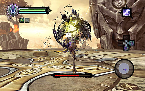 This new stage is very much similar to the first one, the only difference being that the boss will only attack you more successfully with boulders - Boss 18 - Archon - Stains of Heresy - Darksiders II - Game Guide and Walkthrough