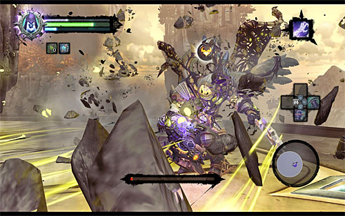 Continue the battle until the boss loses almost all of his health and wait for the Execution icon to appear again - Boss 18 - Archon - Stains of Heresy - Darksiders II - Game Guide and Walkthrough
