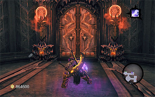 When the fighting is over, look around the area for loot dropped by enemies; you'll also notice that the only available passageway is a door in the south-eastern part of the chamber (the above screen) - Find Samael - beginning - The Lord of the Black Stone - Darksiders II - Game Guide and Walkthrough