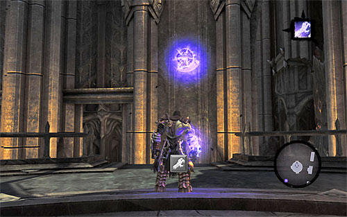 Once they're dealt with, stand in front of the handhold, as seen on the screen, and use Death Grip on it - Find Samael - eastern part of the Black Stone - The Lord of the Black Stone - Darksiders II - Game Guide and Walkthrough