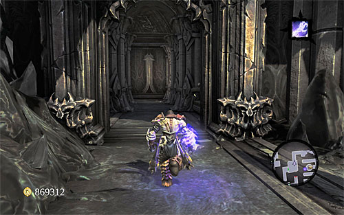 Ignore the closed door nearby and take the corridor leading west (the above screen), eliminating some Undead Scarabs on the way - Find Samael - western part of the Black Stone - The Lord of the Black Stone - Darksiders II - Game Guide and Walkthrough