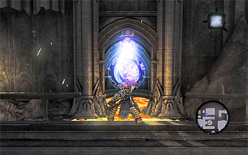 Stand in front of the first portal and use Death Grip on the handhold there - this way you'll jump into the portal without harm and be transported into a new place - Find Samael - western part of the Black Stone - The Lord of the Black Stone - Darksiders II - Game Guide and Walkthrough