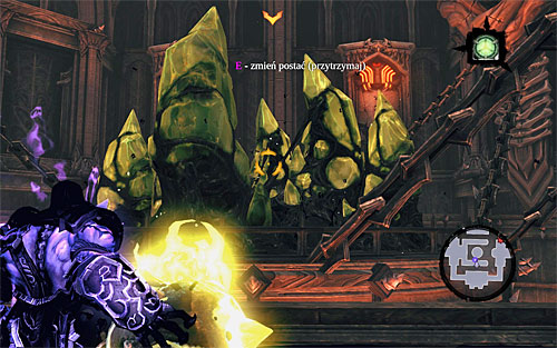 Take control over the second half of the soul - the one that caught the shadowbomb from the other side - one last time - Find Samael - western part of the Black Stone - The Lord of the Black Stone - Darksiders II - Game Guide and Walkthrough