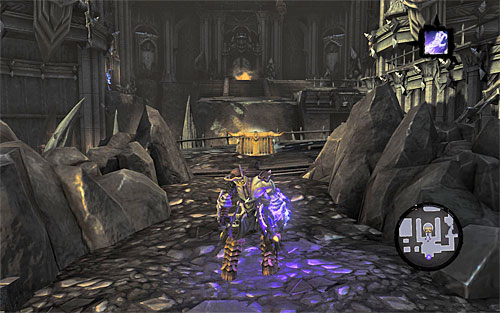 Deactivate Soul Splitter and return to the time portal to go back to the present - Find Samael - western part of the Black Stone - The Lord of the Black Stone - Darksiders II - Game Guide and Walkthrough