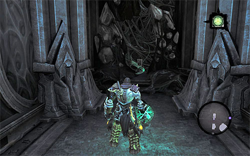 Go back to the first activated portal (the one at the end of the west corridor) and jump through it - this will take you to a shelf on which you're seen a Book of the Dead page earlier ([The Book of the Dead] side quest) - Find Samael - end - The Lord of the Black Stone - Darksiders II - Game Guide and Walkthrough