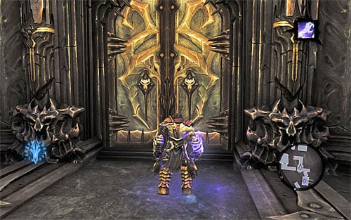 Your destination is the west balcony - there, take the passage leading to the closed door you've opened while exploring the fortress in the other time zone (the above screen) - Find Samael - end - The Lord of the Black Stone - Darksiders II - Game Guide and Walkthrough