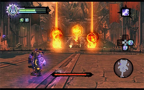 Keep hitting the boss until he goes back on his throne - Boss 19 - Samael - The Lord of the Black Stone - Darksiders II - Game Guide and Walkthrough