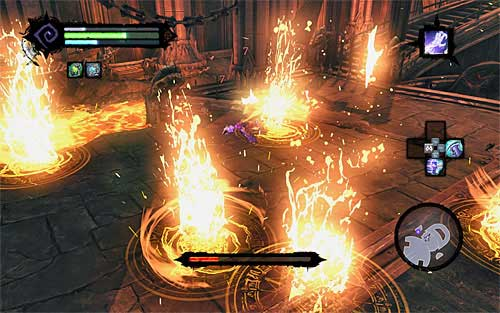 The second difficulty is that the glyphs will eventually show up on the whole arena - Boss 19 - Samael - The Lord of the Black Stone - Darksiders II - Game Guide and Walkthrough