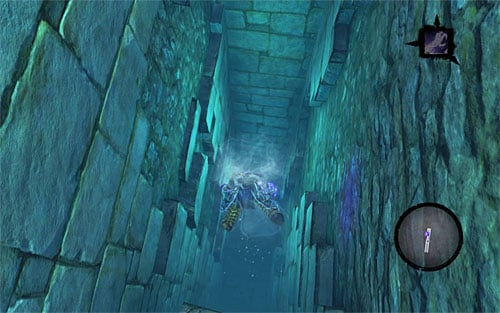 Jump into the water but DON'T go back to the stairs, instead dive in and locate the underwater tunnel shown on the above screen - Weeping Crag - Additional Locations - Darksiders II - Game Guide and Walkthrough
