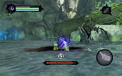 The mini-boss' most important attack is when he springs roots which automatically aim at Death (screenshot 1) - Weeping Crag - Additional Locations - Darksiders II - Game Guide and Walkthrough