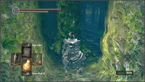Keep on the right wall and use a corridor to go up behind a stone column - Darkroot Garden - p. 1 - Walkthrough - Dark Souls - Game Guide and Walkthrough