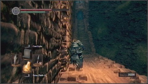 When you get to the middle of the stairs, you'll see a foggy passage to the left - Sen's Fortress - p. 2 - Walkthrough - Dark Souls - Game Guide and Walkthrough