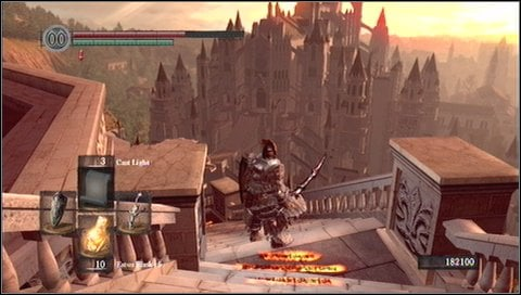 Turn left in front the large knight - you do not have to fight him now - Anor Londo - p. 1 - Walkthrough - Dark Souls - Game Guide and Walkthrough