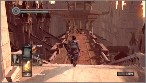 Go back to the stairs and look for a platform located a little bit lower - Anor Londo - p. 1 - Walkthrough - Dark Souls - Game Guide and Walkthrough