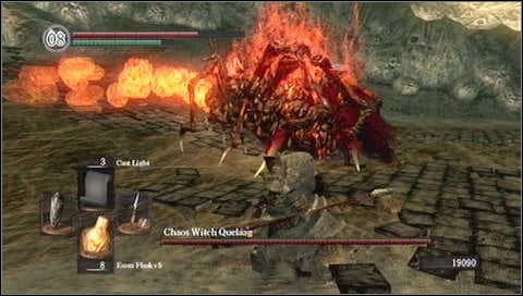 You have to watch out for sword swings - you can dodge them, block them or just retreat - Chaos Witch Quelaag - How to kill a boss - Dark Souls - Game Guide and Walkthrough