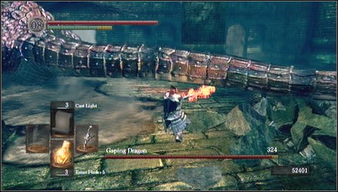 2) Do not think about the shield - blocking dragon's blows has no sense - Gaping Dragon - How to kill a boss - Dark Souls - Game Guide and Walkthrough