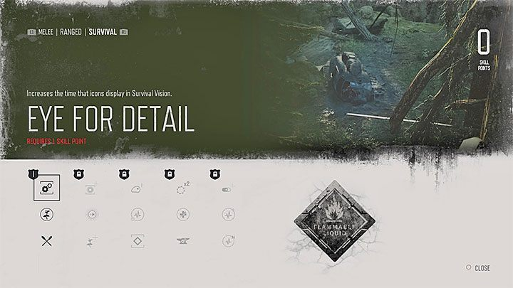 Eye for Detail [level 1] - Extends the time that icons display in Survival Vision - Skills in Days Gone - Character progression - Days Gone Guide