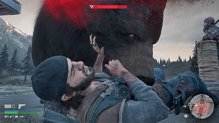 During the fight, try to keep the bear at a distance, especially since the animal can knock Deacon to the ground - then quickly press the specified button to release - How to kill the bear boss in the Lots of Sick People mission in Days Gone? - FAQ - Days Gone Guide