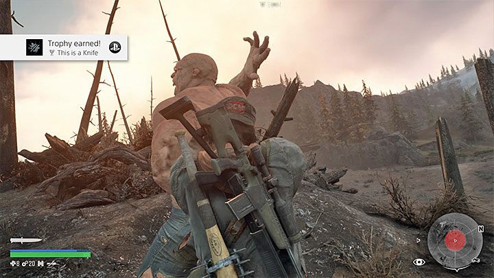 Stand behind the Breaker and press the Triangle to make a surprise attack - How to get the trophy This is a Knife in Days Gone? - Trophies and achievement - Days Gone Guide