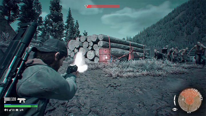 In addition to blowing up trucks you can also, of course, stop at the small explosive barrels or canisters, as well as drop wood beads that can crush running Freakers - How to defeat the Horde at the Iron Butte in Days Gone? - FAQ - Days Gone Guide