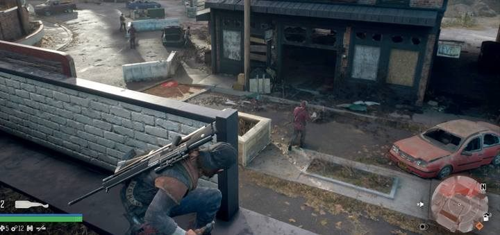 On the roof of the building there is a great spot to fire at the enemy. - Protecting the Weak | Days Gone Walkthrough - Main storyline - Days Gone Guide