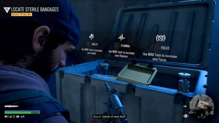 At each NERO checkpoint youll find crates, thanks to which youll improve the characters stats. - Hes my Brother | Days Gone Walkthrough - Main storyline - Days Gone Guide