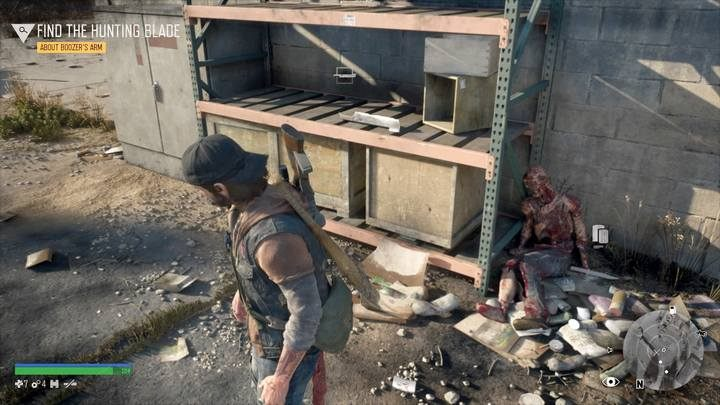 Go to the store and examine the trail on the fridge and go outside following the traces until you find a corpse lying up at a nearby building - Surviving Isnt Living | Days Gone Walkthrough - Main storyline - Days Gone Guide