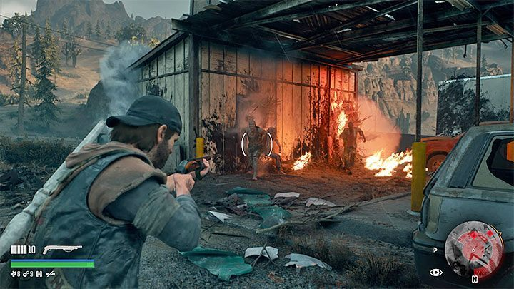 Once you find a Nest, throw a Molotov cocktail at it in order to set it on fire - How to find and destroy Freaker Nests in Days Gone? - FAQ - Days Gone Guide