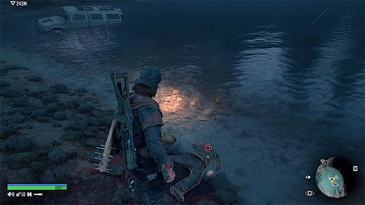 Only after both requirements have been completed you can search the corpse washed up on the shore - press and hold the interaction button - Why cant I finish the Drugged Outta His Mind mission of Days Gone? - FAQ - Days Gone Guide
