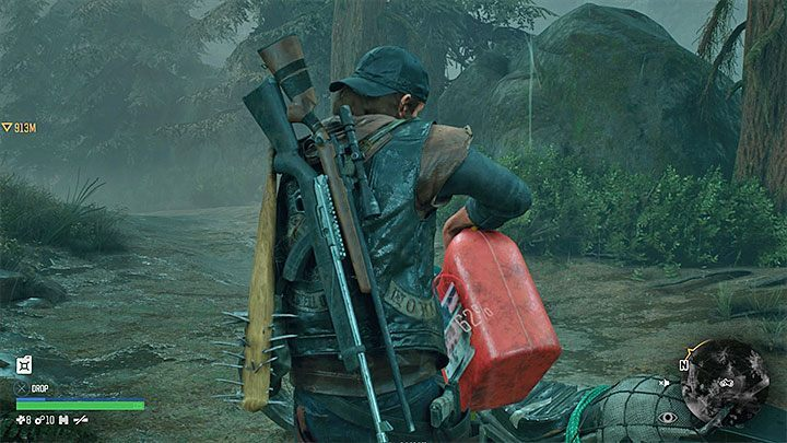 You need to pick up the canister, return with it to the motorcycle and hold the circle button in order to pour fuel into the tank - How to get motorcycle fuel in Days Gone? - Motorcycle - Days Gone Guide
